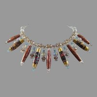 Japanese Paper Bead and Crystal Necklace
