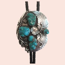 Fancy Native Silver and Turquoise Bolo tie