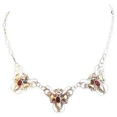 Edwardian Era Sterling,Garnet and Vermeil Butterfly Necklace