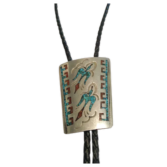 George Nakai Turquoise and Coral Inlay  Navajo Bolo Tie