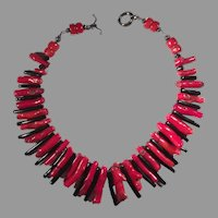 Red and Black Coral Ruff Necklace