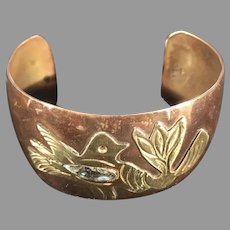 Copper Brass Abalone Mexican Cuff bracelet