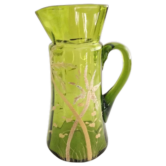 Blown Glass and Hand Painted Pitcher circa 1900