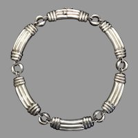 Sterling Silver Ribbed Bar Link Necklace
