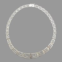Sterling Silver Greek Key Design Necklace