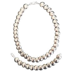 Handmade Sterling Silver Bead Necklace and Bracelet