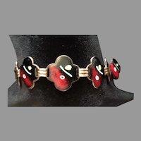 Enamel on Copper Modernist Bracelet