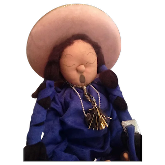 Vintage Handmade Navajo Fabric Doll with Hat