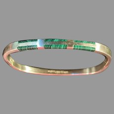 Taxco 950 Silver and Malachite Bangle Bracelet