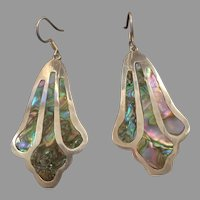 Taxco Sterling Silver and Abalone Drop Earrings