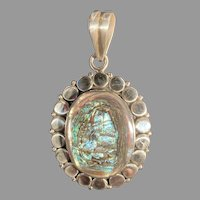 Raindrop Pattern Silver and Abalone Pendant