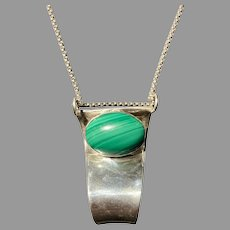 Sterling Silver and Malachite Pendant