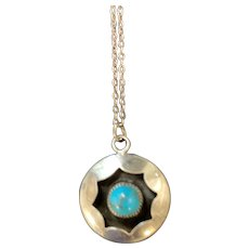 Sterling Silver and Turquoise Shadow Box Pendant