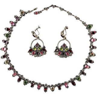 Hollycraft 1954 Rhinestone Necklace and Earrings