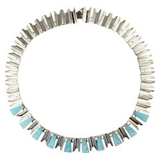Mexican Modernist Sterling and Faux Stone Necklace