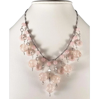 Edwardian Rose Quart Festoon Necklace