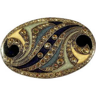 Art Nouveau Brooch with Trombone Clasp