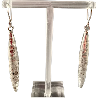 Hammered Taxco Silver Drop Earrings