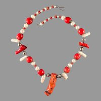 Handmade Chunky Coral, Pearl, and Silver Statement Necklace