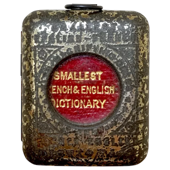 Antique Tiny Dictionary Book 19th Century English-French
