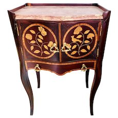 1800s Rosewood marquetry and marble Chest