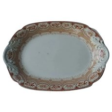 Venetian pattern Alcock and Son ironstone platter, brown and white
