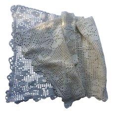 Vintage crochet pillow cover or dresser scarf