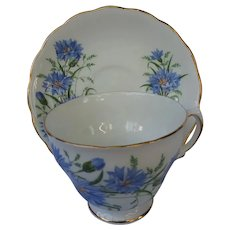 Royal Vale bone china cornflower blue floral cup and saucer made in England