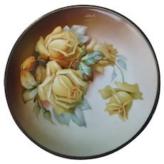 Thomass Sevres Bavaria La Reine hand painted yellow roses plate