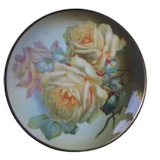 Hand painted yellow and pink tinged roses plate marked Thomass Sevres Bavaria