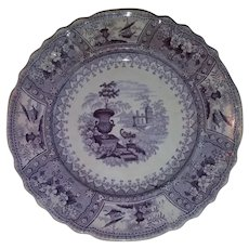 Goodwin and Ellis purple Staffordshire transferware plate in the Canova pattern