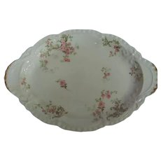 """Haviland Limoges pink roses 12"""" oval platter with bows and swags on blank; frosted gold gilded trim"""