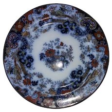 Ridgways Corey Hill pattern plates, flow blue, England
