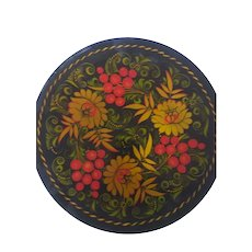 "Beautiful Russian lacquer plate 8 1/2"" across fruit and flowers pattern"