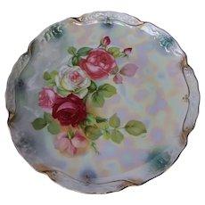 Rose pattern transferware cake plate circa 1900
