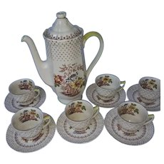 Royal Doulton Grantham pattern coffee set of pot and 6 demitasse cups and saucers
