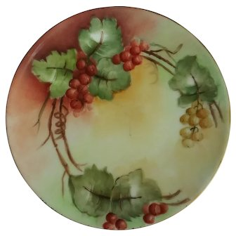 "Thomass ""Sevres"" Bavaria hand painted plate burnt red and golden currants"