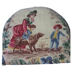 French linen toile tea cozy, scene with mother and child, dog
