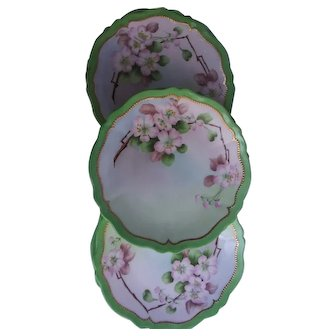 Set of six Austrian hand painted apple blossom plates