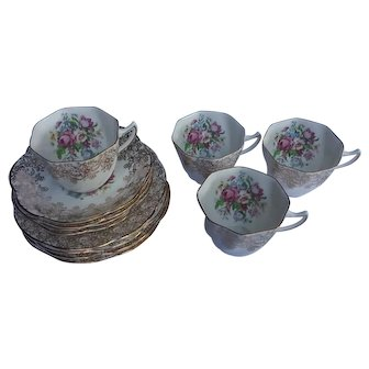 Clare pattern English bone china tea set for four