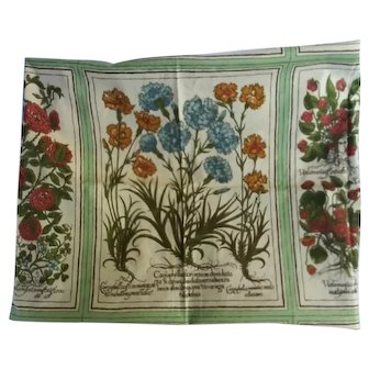 Vintage Flower Folio screen printed fabric panel