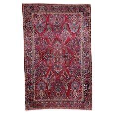 4'3″ x 6'7″ Antique Sarouk Persian Oriental Rug #7214