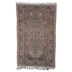 Antique Kayseri Turkish Silk and Metal Oriental Rug  4'4″ X 6'10""