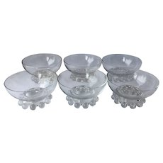 Set of 6 Candlewick Sherbet Footed Fruit Bowls 400-19