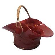 Fenton Mandarin Red Big Cookies Basket with Wicker Handle