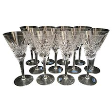 12 Gorham Crystal Cherrywood Continental Champagne Wine Glasses