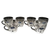 5 Gorham Crystal Cherrywood Punch Cup Glasses