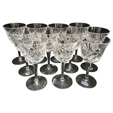 "11 Gorham Crystal Cherrywood Claret 6 and 1/4"" Wine Glasses"