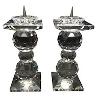 Swarovski Crystal Pair of Pin Candle Holders Triple Ball