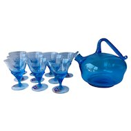 Imperial #614 Booze/ Rum Pot Blue with 10 Blossom 3 oz. Cocktail Glasses